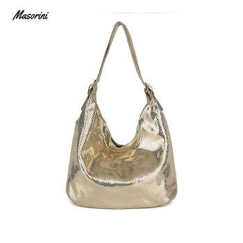 цена на New Fashion Women Handbag Genuine Leather Shoulder Bag Female Bag Big Serpentine Prints Large Capacity Tote Bag Silver