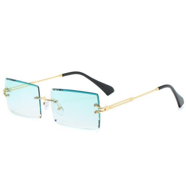 New Rimless Rectangle Sunglasses Women & Men Shades Brand Designer Gradient UV400 Sun Glasses Retro Frameless Sunglasses 6