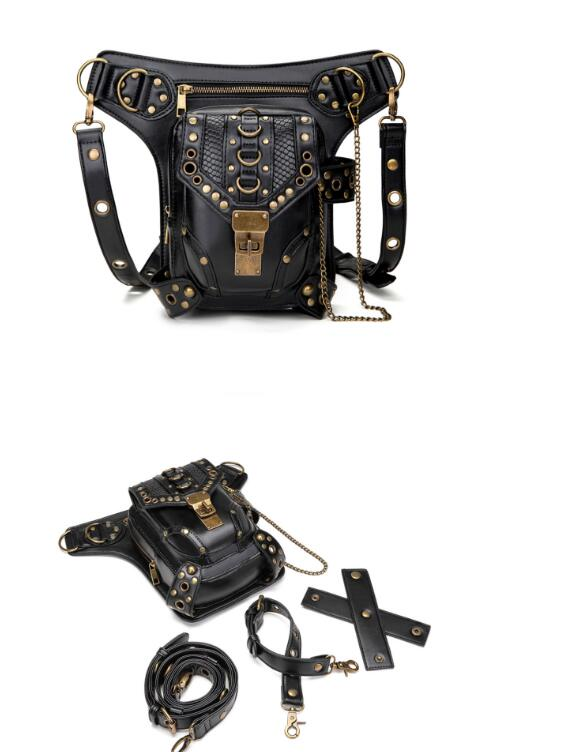 JFB A Steampunk Vintage Motorcycle Bag, A Lady's One Shoulder Cross-body Bag, And A Lady's Fanny Pack