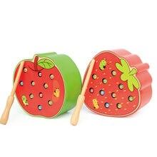 Venda quente brinquedos de madeira do bebê 3d quebra-cabeça da primeira infância brinquedos educativos pegar worm jogo cor cognitiva morango magnética maçã