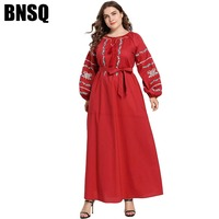 BNSQ Plus Size Abaya Muslim Maxi Dress No Hijab Vintage Beach Cocktail Party Red Modest New Design High Quality Factory Outlet