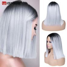 Wignee 2 Tone Ombre brązowy popiół blond peruka syntetyczna dla kobiet środkowa część krótkie proste włosy wysokiej temperatury Cosplay włosów peruki