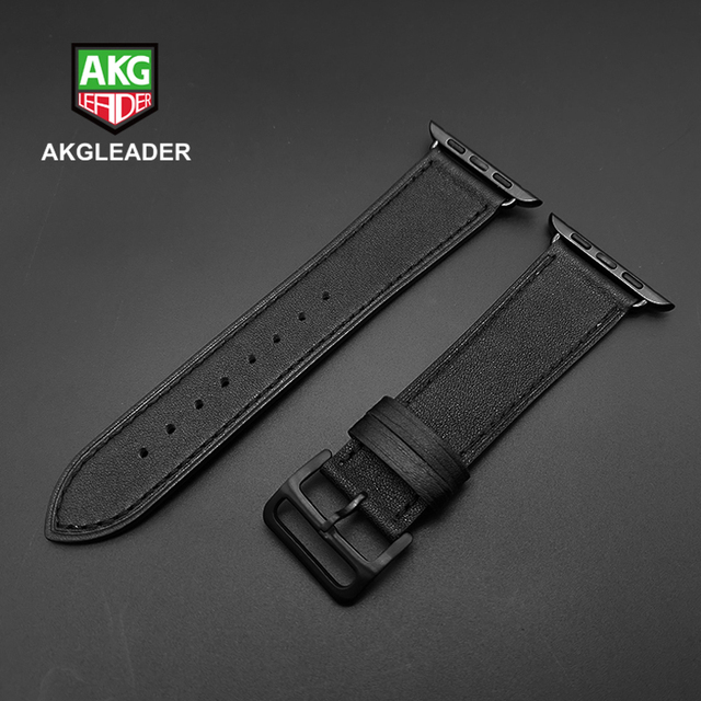 40mm 44mm Black Strap For Apple Watch Series 5 Watchband Genuine Leather Bracelet Single Double Tour Bands For iWatch Series 3 2