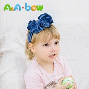 Image 2 - 1 adet katı yay bebek kız Headbands yumuşak naylon yenidoğan türban çocuk bebek kafa sarar yay saç bantları yeni bebek türban damla nakliye