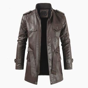 Image 2 - Oumor Men Winter Casual Long Warm Fleece PU Leather Jacket Coat Men Outwear Brand Thick Punk Motor Vintage Leather Jackets Men