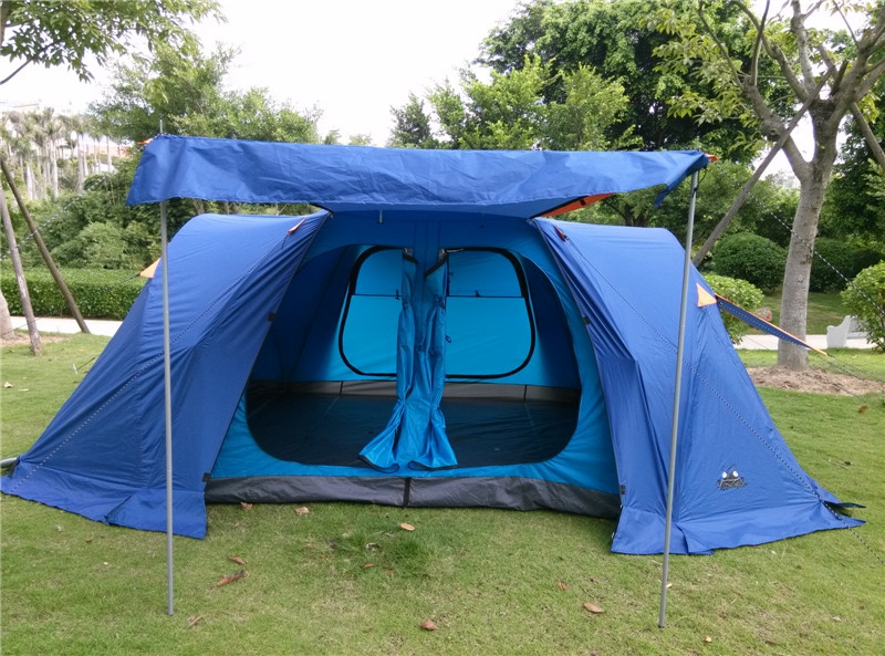 Upgrade Version!New Camping Tent 6-8 People Family Camping Tent Automatic Two-bedroom Halls With Plus Snow Skirt