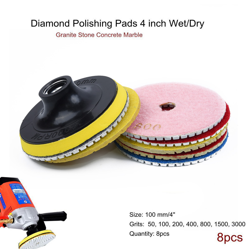 8*Diamond Polishing Pads 4 Wet/ Dry Set For Granite Stone Concrete Marble Tile