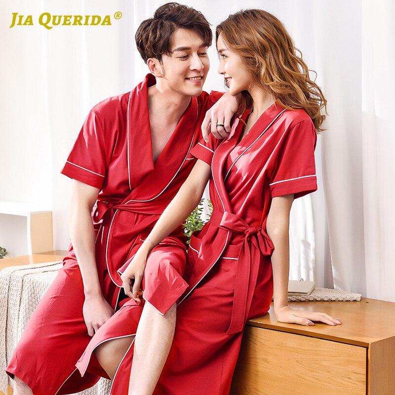 New Red Long Sleeve Men And Women Couple Robe Bathrobe Housecoat Fashion Style Casual Style Kimono Home Robe Night Robe Yukata