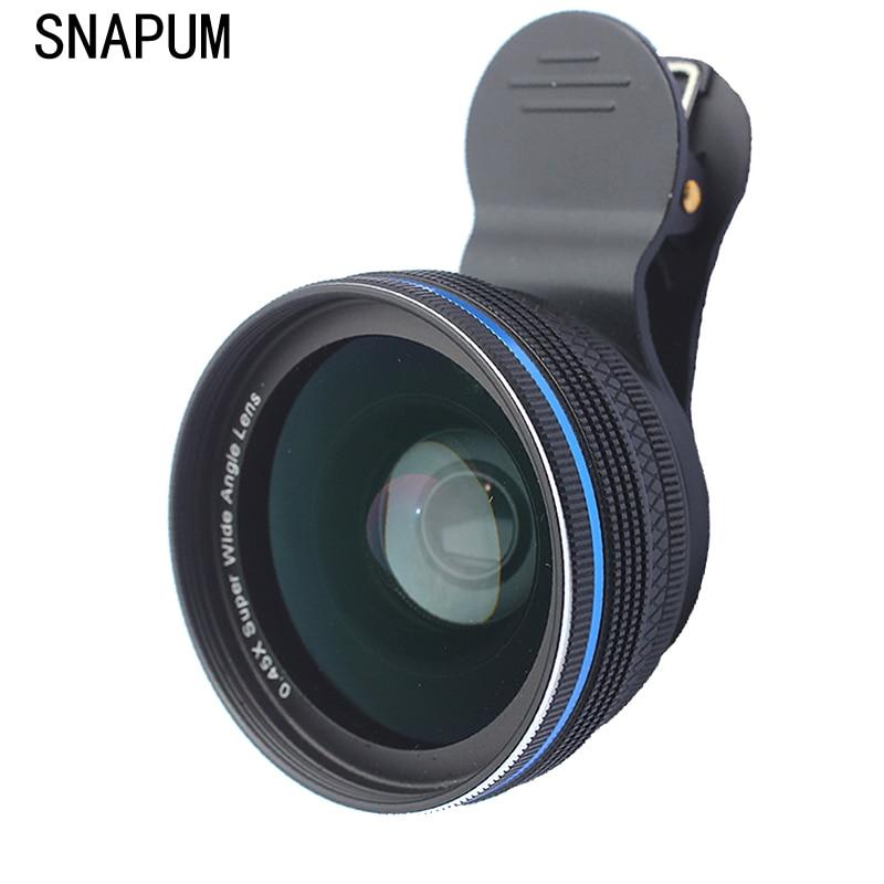 Aleaciones de aluminio SNAPUM universal Clip teléfono móvil 0.45X lentes de ángel anchas + 10x lente macro de teléfono móvil para iphone Huawei samsung