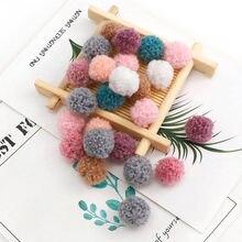 50 pçs coreano tela de renda bolas pom pom plush balls15mm/20mm mini franja malha tecido artesanal diy artesanato headwear casamento deco