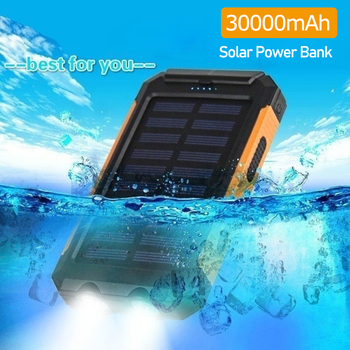 30000mAh Solar Power Bank USB Powerbank Waterproof Outdoor Light Battery External Portable Charging LED Light 2USB Powerbank 1
