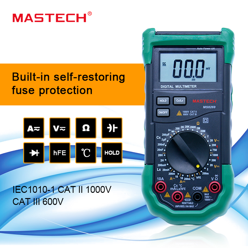 MASTECH MS8269 3 1/2 Digital Multimeter LCR Meter AC/<font><b>DC</b></font> Voltage Current Resistance Capacitance Temperature tester image