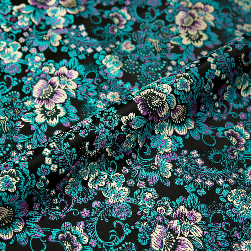 Brocade silk fabric flower cloth nylon fabrics for sewing material for dress textile