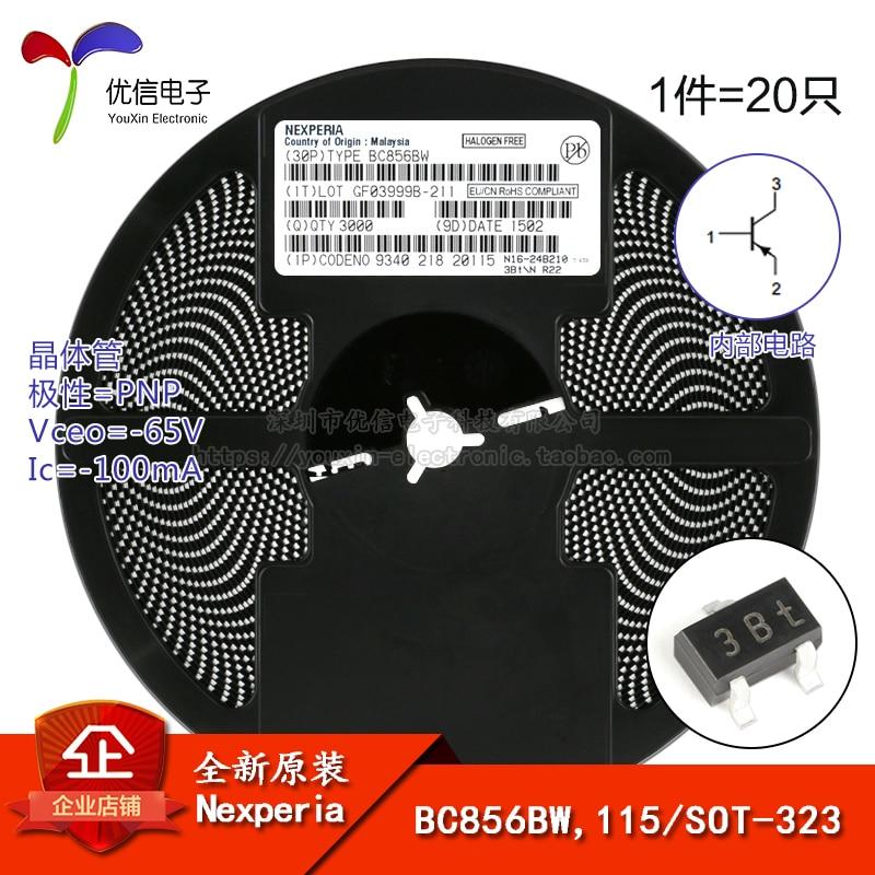 Original genuíno bc856bw, 115 tela 3bt sot-323 -65v/-transistor 100ma smd