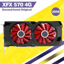 Usado xfx 570 4g 256bit gddr5 desktop xfx placas gráficas placa de vídeo bradeon compatível com x79 placa-mãe amd rx 570 cartão