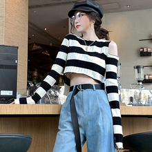 2019 new Autumn summer black white Striped Cold Shoulder long sleeve Korean women sweater pullover sexy knitted vogue crop tops black sexy cold shoulder long sleeves sweater