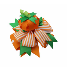 5 inch Halloween hair bows pumpkin bow Boutique Handmade Hair accessories clip for girls