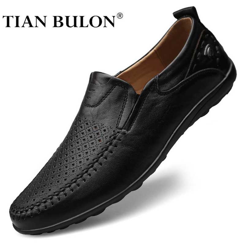 Italian Men Casual Shoes Summer Genuine Leather Men Loafers Moccasins Slip On Men's Flats Breathable Male Driving Shoes Zapatos