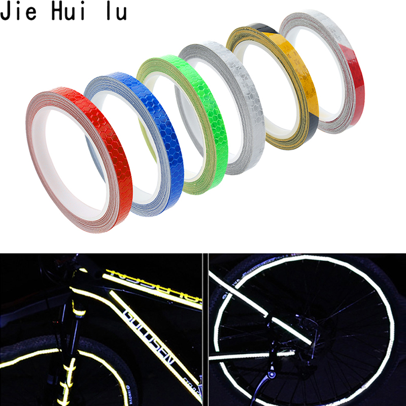 1Pcs Creative 8m Reflective Tape Fluorescent Bike Bicycle Cycling Motorcycle Stickers Strip Decal Tape Safety Waterproof
