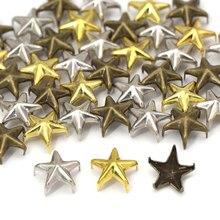 100 pçs 10mm metal estrela rebites 5 garras rebites studs para roupas tira/ouro/bronze punk spikes diy couro artesanato punk acessórios
