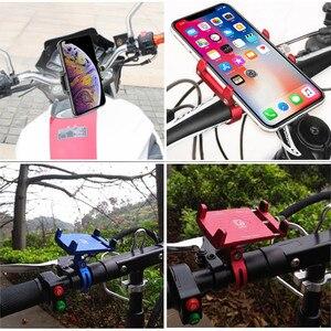 Image 3 - Quad Lock Aluminium Bike Motorcycle Phone Holder Stand For 4 6.5 Smartphone Motorbike Handlebar Bracket Phone Mount For iPhone