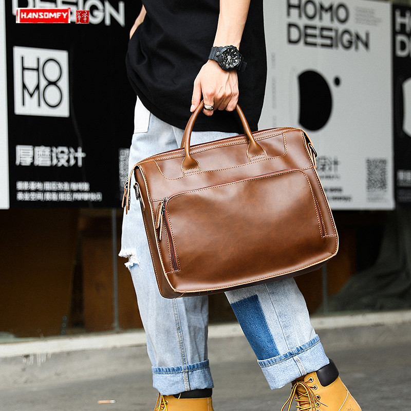 Fashion Casual Retro Crazy Horse PU Leather Men's Handbag Portable Laptop Briefcase Travel Shoulder Bag Computer Diagonal Bags