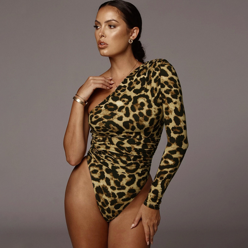 HAWTHAW women sexy spring autumn long sleeve leopard print off the shoulder skinny Bodycon one piece bodysuit romper playsuit