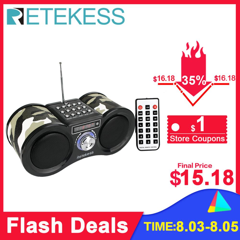 Retekess V113 FM Radio Stereo Digital Radio Receiver Speaker MP3 Music Player USB Disk TF Card Camouflage + Remote Control(China)