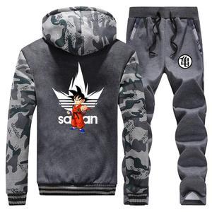 Image 3 - Anime Dragon Ball Z Dikke Hoodie Sweatshirt Dragonball Z Goku Camouflage Truien Jas + Broek 2 Stuk Sets Mannen Streetwear jas