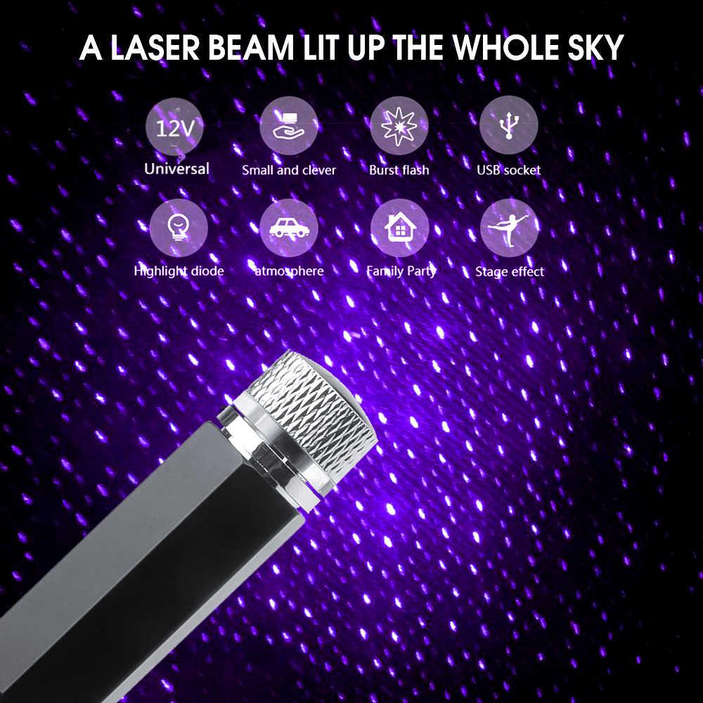 Negro 5V Coche Autom/óvil Techo Star Sky Proyector Luz USB L/ámpara de noche Decoraci/ón de techo Coche Usb Starry Sky Light