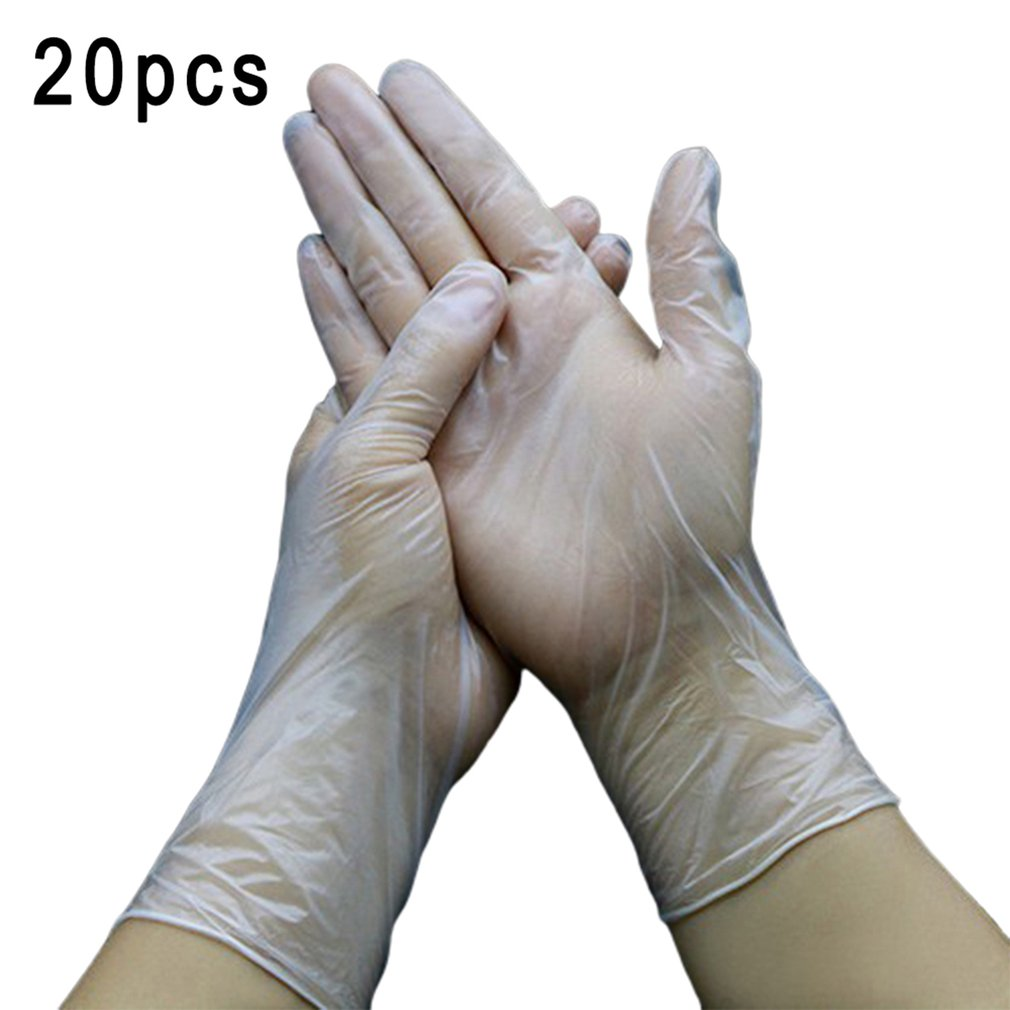 Clear Plastic Disposable Gloves For Food Use Acid Resistant Gloves For Home Cleaning Medical Pvc Gloves 20Pcs