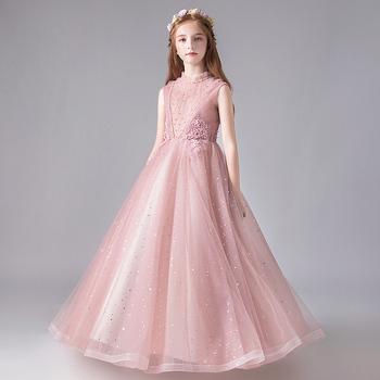 Pink Tulle Beads Flower Girl Dresses For Wedding Party Wedding Dreeses Floor Length Princess Ball Gown First Communion Dresses