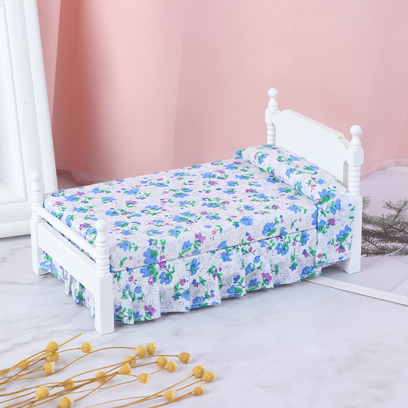 1Pc 1:12 Mini Bed With Pillow For Girls Dolls Dollhouse Bedroom Furniture Blue Color Toy For Children Doll Pretend Play Toy