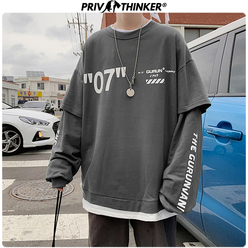 Privathinker Harajuku Oversized Hoodie Men 2020 Fashion Letter Print Man Casual Sweatshirts Fake Two Piece Streetwear Pullovers