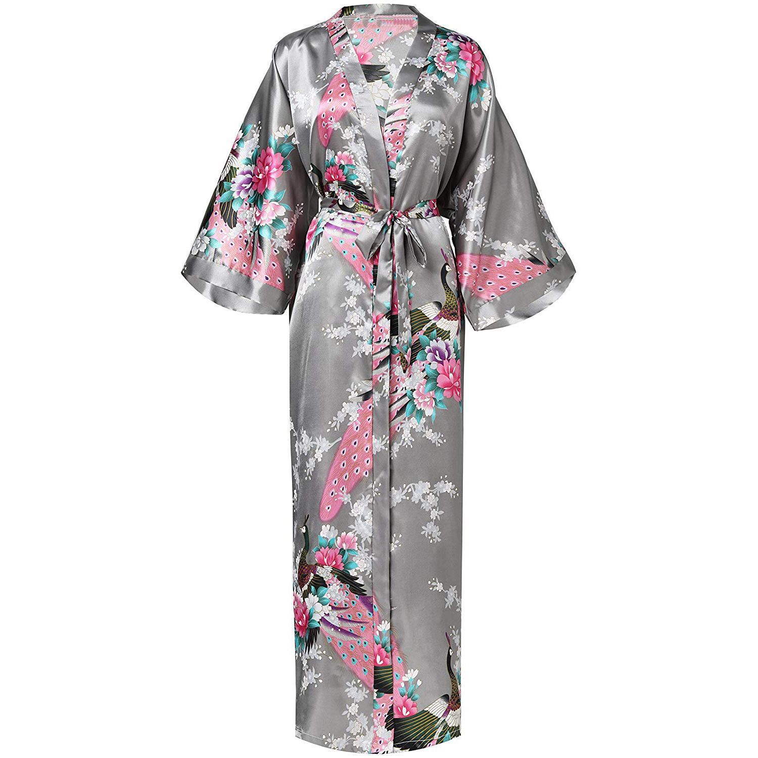 Satin Home Wear Bride Bridesmaid Wedding Robe Casual Long Nightgown Negligee Print Flower Kimono Gown Novelty Bathrobe Gown