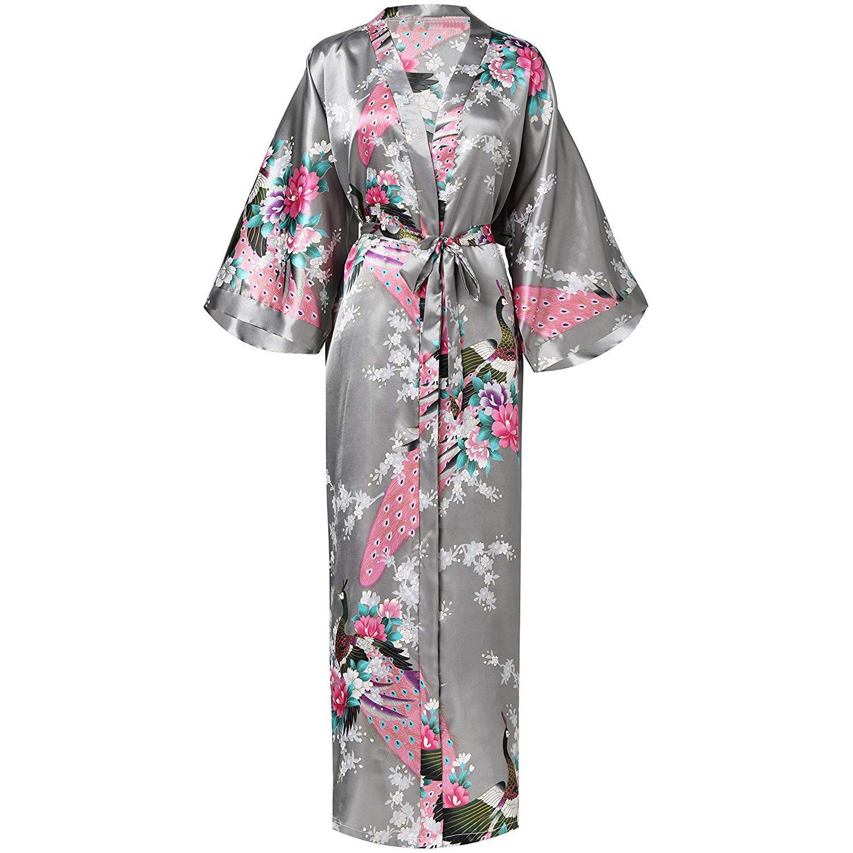 Satin Home Wear Bride Bridesmaid Wedding Robe Casual Long Nightgown Negligee Print Flower Kimono Gown Novelty Bathrobe Gown
