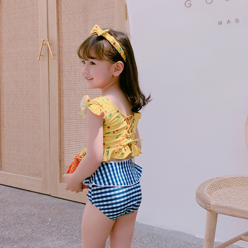 KID'S Swimwear 2019 New Style Export Korean-style Cute Floral Dress-Contrast Color Small GIRL'S Swimsuit