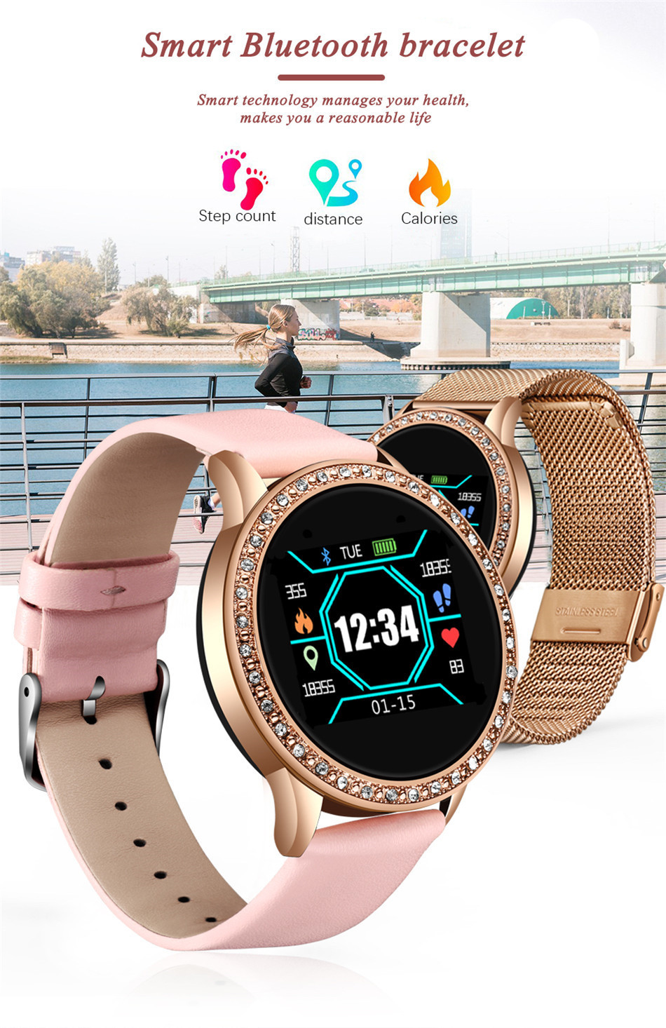 LIGE Ladies Smart Watch Women Blood Pressure Heart Rate Monitor Fitness tracker Sport Smart Band Alarm clock reminder Smartwatch