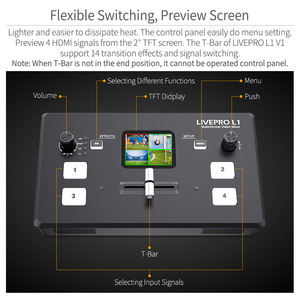 Image 2 - FEELWORLD محول فيديو LIVEPRO L1 V1 ، محول فيديو مباشر 4xHDMI ، Hdmi ، USB3.0 ، تنسيق متعدد ، استوديو ، معاينة ، كاميرا Youtube