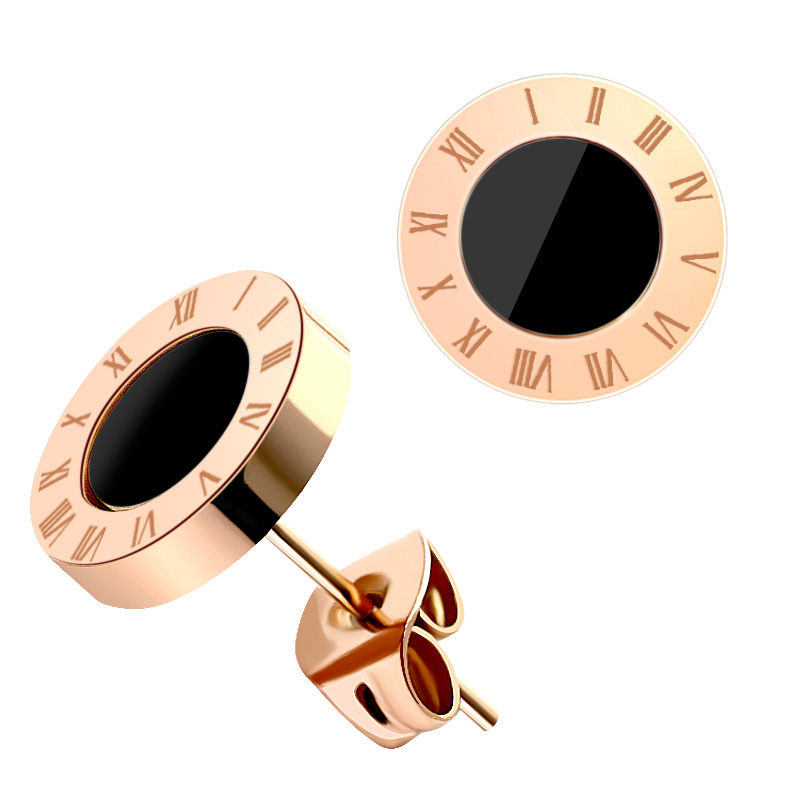 BLINLA Fashion New Stainless Steel Acrylic Crystal Stud Earrings for Women Men Jewelry Vintage Roman Numerals Small Earring 2019