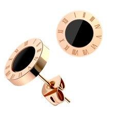 BLINLA Fashion nuovi orecchini a bottone in cristallo acrilico in acciaio inossidabile per donna uomo gioielli numeri romani Vintage orecchini piccoli 2021