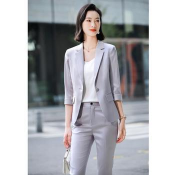 2021 Summer Professional Women Pants Suit Elegant Two Piece Fashionable Style Shawl Collar Office Lady Blazer Set Plus Size 4xl 1