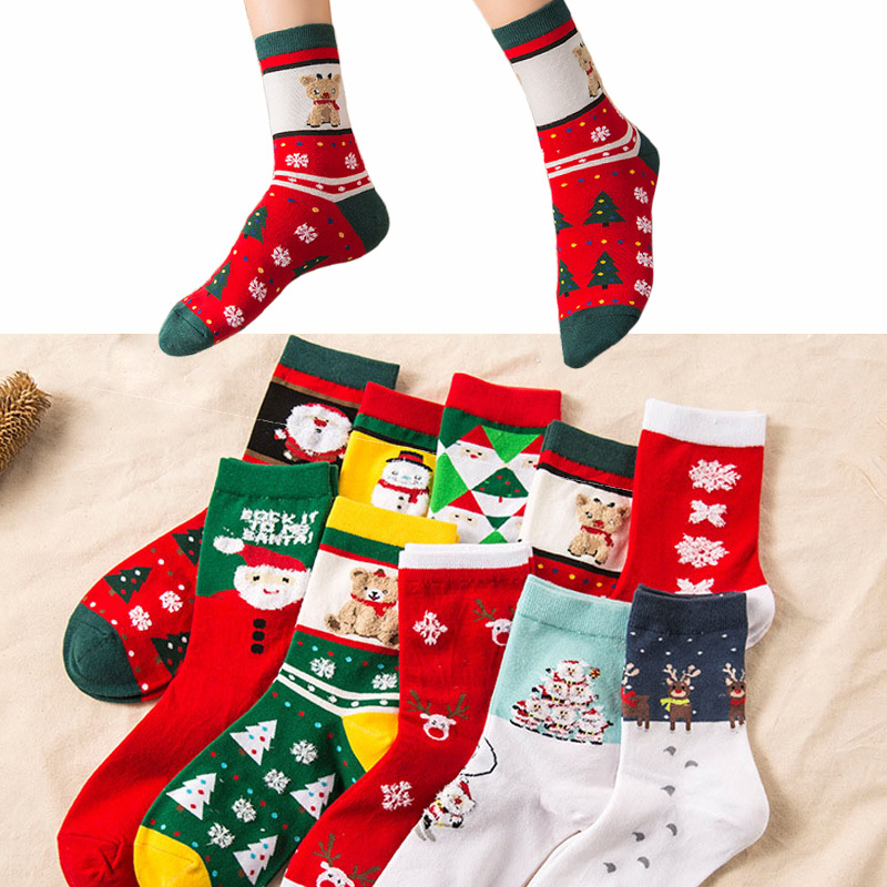 2019 Winter Unisex Socks Christmas Gift For Family Cute Red Socks For Christmas Funny Crazy Girls Christmas Socks For Women