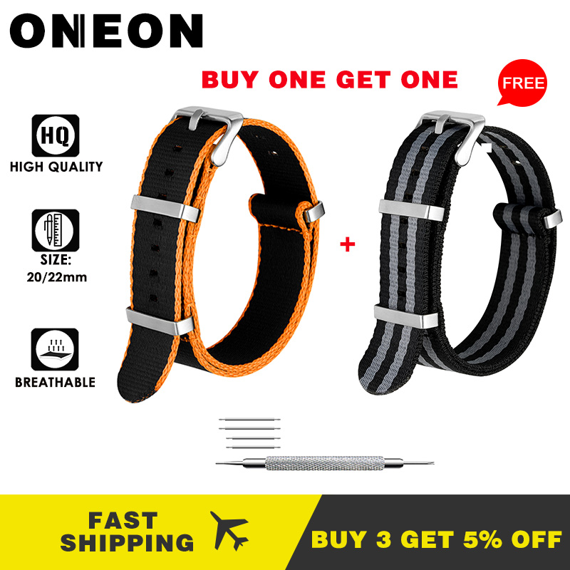 ONEON Buy One Get One 20mm 22mm Nylon Strap For Samsung Galaxy Watch Gear S2 S3 Amazfit Huawei Watch GT Replaced Watch Band 2020