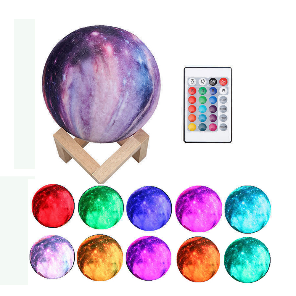 Colorful 3D Print Star Moon Lamp Color Change Touch Usb LED Night Light Planet Lamp Home Decoration Kids Creative Gift