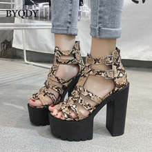BYQDY Summer Snake Print Platform Chunky High Heels Ankle Strap Sandals Sexy Peep Toe Ladies Fashion Shoes Dance Women Sandals