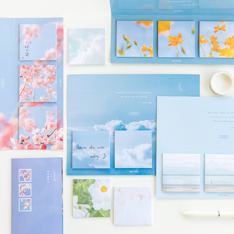 Time Machine Memo Pad 60 Sheets Blue Sky Cherry Daisy Flower Sticky Notes Adhesive Notepad Diary Stickers Office School A6515