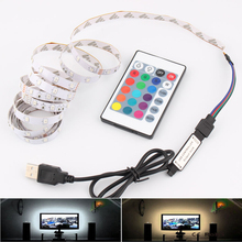 DC 5V RGB LED полоса USB 5V ПК TV подсветка 2835 SMD 50CM 1M 2M 3M 4M 5M 5V USB LED Strip RGB Lights Lamp Лента Лента Гибкая