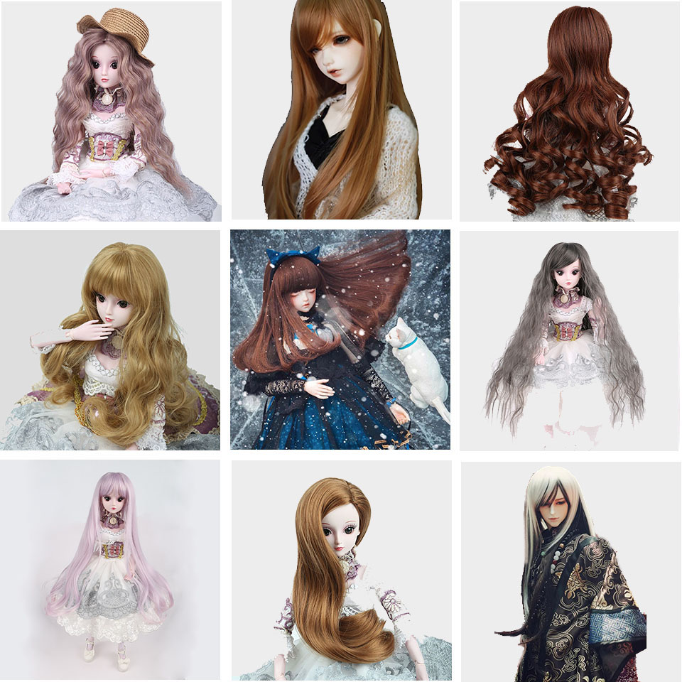 Bybrana BJD Wig 1/3 1/4 Long Black Straight Bangs Wigs High Temperature Fiber For Doll