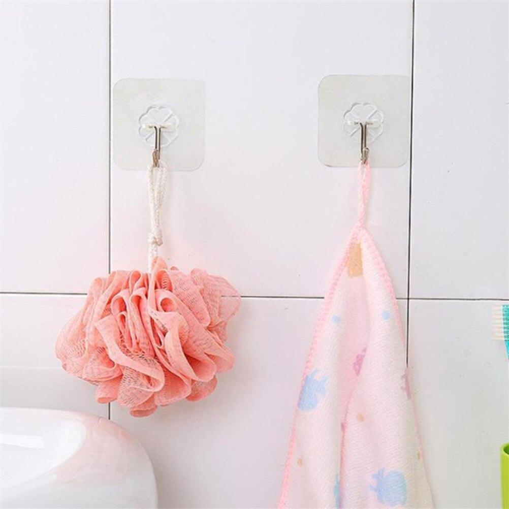 8 Pcs Wall Hooks Waterproof Transparent Reusable Self Adhesive Hooks Hanging Hooks Seamless Hooks For Bathroom Kitchen